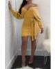 Anne recommend: Pearl Off Shoulder Long-Sleeves Knitting Dress-M-Sku-A20884/ab,Yellow