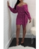 Anne recommend: Pearl Off Shoulder Long-Sleeves Knitting Dress-M-Sku-A2084/ul,Purple