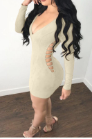Suede Cut Hollow Tight Zipper Back Party Dress