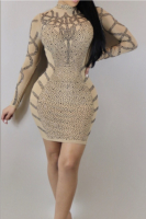 Rhinestone Zipper Back High Quality Tight Long-Sleeves Party Dress