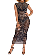 Rhinestone Mesh High Quality Maxi Dress-Sku20932-M,Black