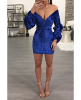 Winter New Velvet Belted Puff Sleeves sexy Little Dress-M-Gold,Skua20934C