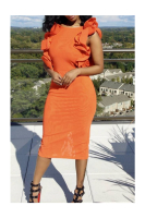 Orange Low Back Tight Midi Dress