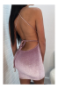 Pink Sequined Sling Sexy Tight Little Dress-XL-Sku-A20990/Pink