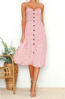 Floral Buttons Pockets Sling Midi Dress