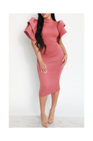 Plus Size Flounce Shoulder Choker Elegant&OL Midi Dress