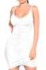 Ruched Sling Skinny Sexy Mini Dress-M-A21043/W,White