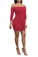 Full Off Shoulder Knot Solid Color Mini Dress