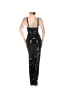 6XL PU Sling Side Slit Sexy Maxi Dress-Sku-A21052-XL,Black