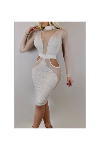 Sliver Sparkling Mesh See Through Sexy Tight Midi Dress-M-Sku.A22006