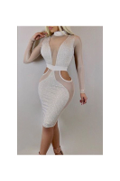 Sliver Sparkling Mesh See Through Sexy Tight Midi Dress