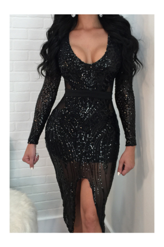 Sequined Long-Sleeves High Quality Sexy Tight See Through Midi Dress-Sku-A22009ui-Black,L