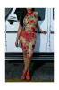 Red Mesh Embroidery Zipper Back Tight Sexy Dress-M-Sku-A22016