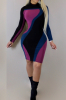 Mixed Color Long-Sleeves Sexy Tight Little Dress-SKU.22022-S