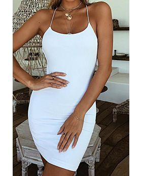 Summer New Solid Color Hollow Back Sexy Tight Little Dress-L-SKU-A23123,white