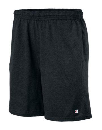 Champion Authentic Cotton 9-Inch Mens Shorts with Pockets-Black-XL