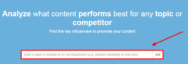 The Buzzsumo search bar