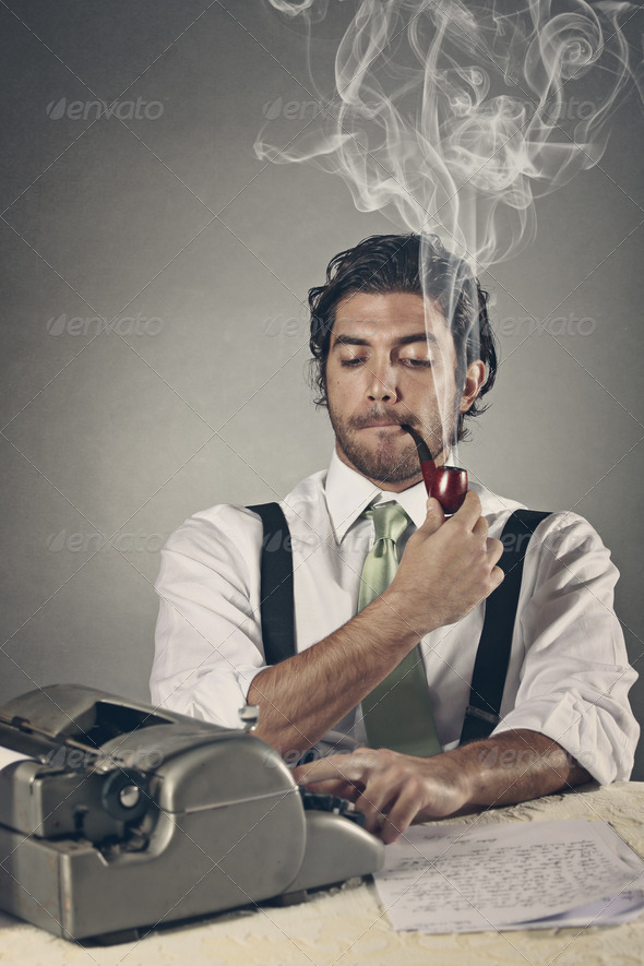 Pipe smoking writer with funny expression