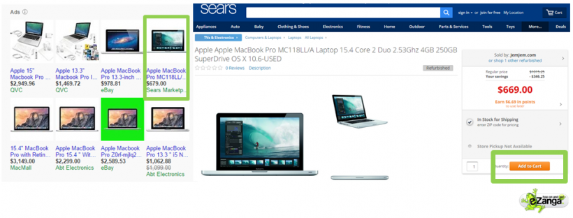 Sears PPC Ad and Landing Page for a Apple MacBook Pro