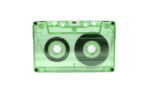 transparent cassette tape isolated in white with clipping path included.
