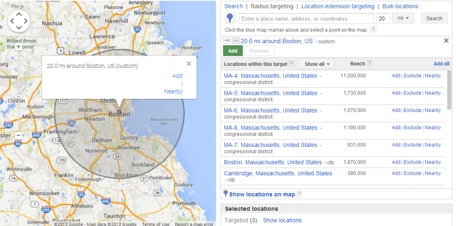 How much does AdWords cost geotargeting local PPC