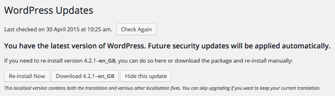 WordPress is updated