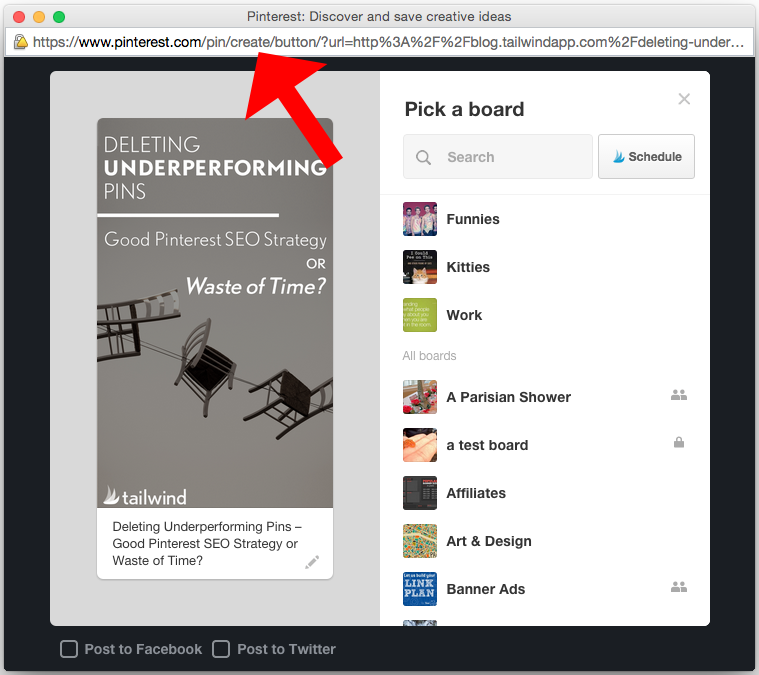 Grab the URL from the Pinterest pop-up to create a new pin in a newsletter