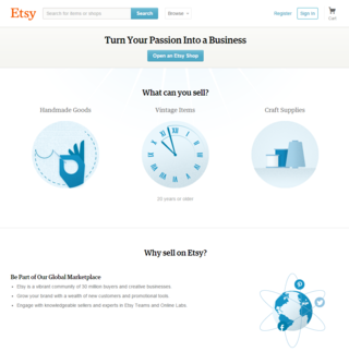 With Etsy, you basically just put in some info about yourself or your business, add some items, and then start selling.