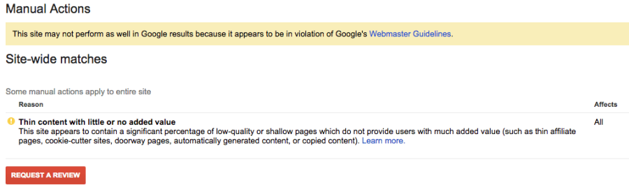 A Google penalty, warning that the website