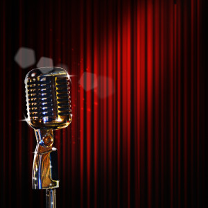retro microphone and red curtain