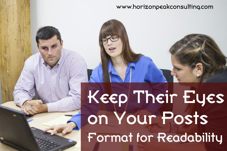Keep their eyes on your posts -- people gathered around laptop