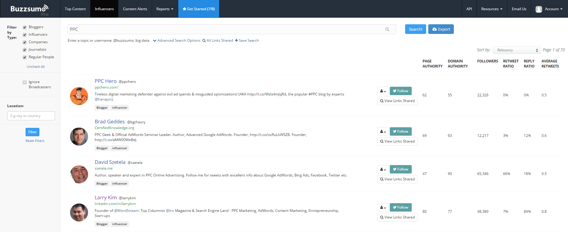 Influencer marketing BuzzSumo Influencers report screenshot