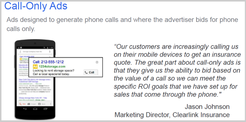 Call-only ads in search