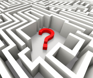 Question Mark In Maze Shows Confusion And Puzzled