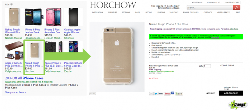 Horchow Example of Matching Images on a PPC Landing Page