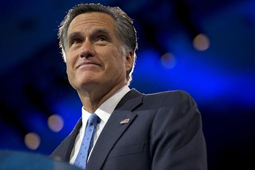 "FILE - This March 15, 2013 file photo shows former Massachusetts Gov., and 2012 Republican presidential candidate, Mitt Romney at the 40th annual Conservative Political Action Conference in National Harbor, Md. Romney told ""Fox News Sunday"" that he has accepted an apology from MSNBC host Melissa Harris-Perry, who joked about a Christmas picture that included the 2012 Republican presidential candidate's adopted, African-American grandson. Romney said that he sees Melissa Harris-Perry's apology as sincere and is ready to move on. (AP Photo/Jacquelyn Martin, File)"