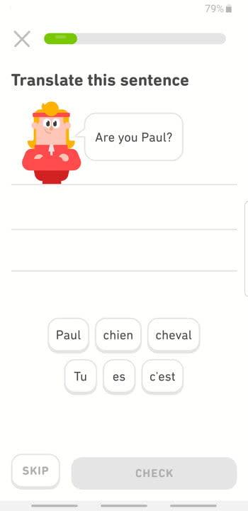 Screenshot of Duolingo app