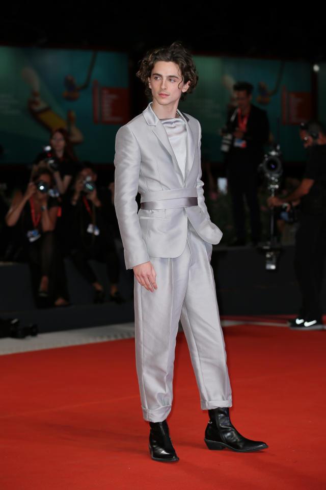 Wearing a Haider Ackermann belted suit. <em>[Photo: Getty]</em>