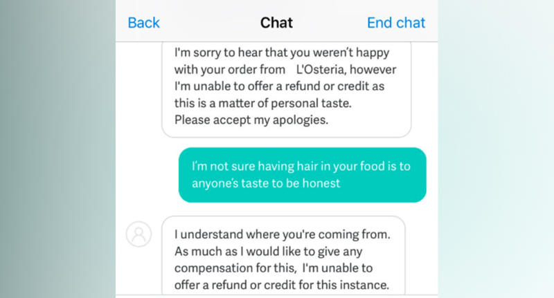 Norwich UK Deliveroo Byron burger customer found hair in his meal, but was refused a refund.
