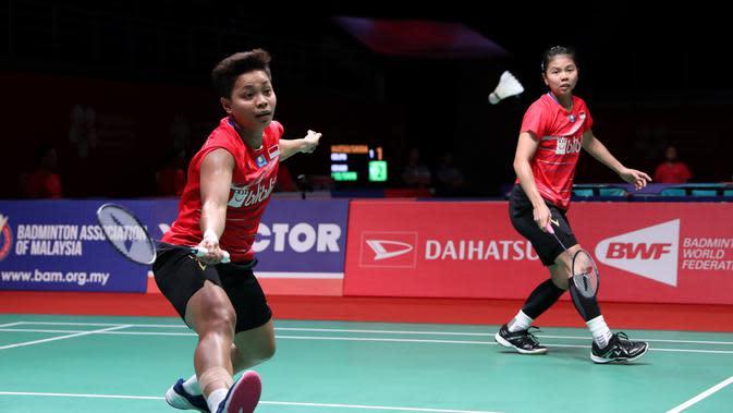 Aksi ganda putri Indonesia, Greysia Polii/Apriyani Rahayu, pada perempat final Malaysia Masters 2020, di Axiata Arena, Jumat (10/1/2020). (PBSI)