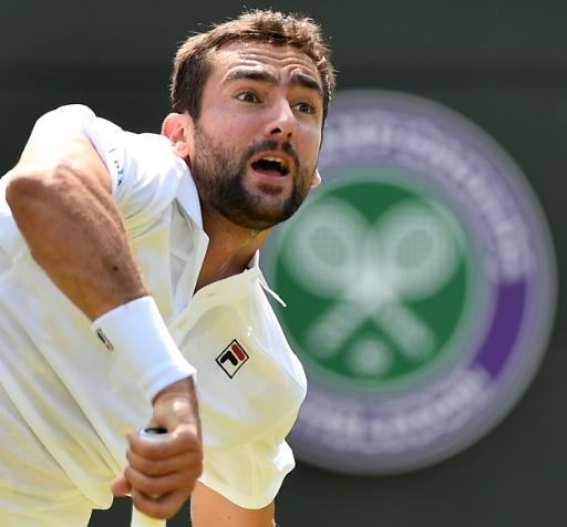 Croatia's Marin Cilic in action at Wimbledon