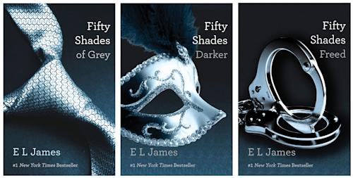 "This combo made of book cover images provided by Vintage Books shows the ""Fifty Shades of Grey"" trilogy by best-selling author E L James. They're young and old, doctors and churchgoers, gay and straight _ and those are just the MEN who have devoured oh-so-naughty ""Fifty Shades of Grey,"" a violent, erotic trilogy that has earned millions of women fans in a matter of weeks. (AP Photo/Vintage Books)"