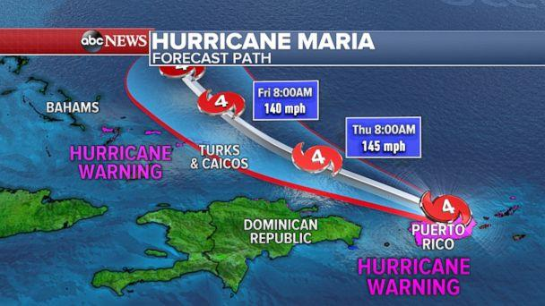 PHOTO: The latest forecast model shows Hurricane Maria missing the United States and moving out to sea. (ABC News)