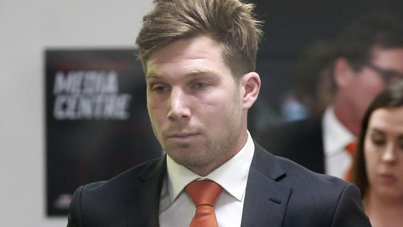 Toby Greene, pictured here after his AFL tribunal hearing.