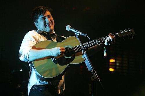 Marcus Mumford of Mumford & Sons performs at the Glastonbury Music Festival at Glastonbury, England on Sunday, June 30, 2013. Thousands are enjoying the three day festival that started on Friday, June 28, 2013 with headliners, Arctic Monkeys, the Rolling Stones and Mumford and Sons. (Photo by Jim Ross/Invision/AP)