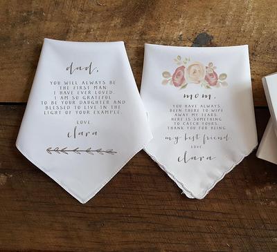 CUSTOM MESSAGE Wedding Handkerchief Gift To Mother Custom Wedding Gift Gift For Mom Printed Handkerchief