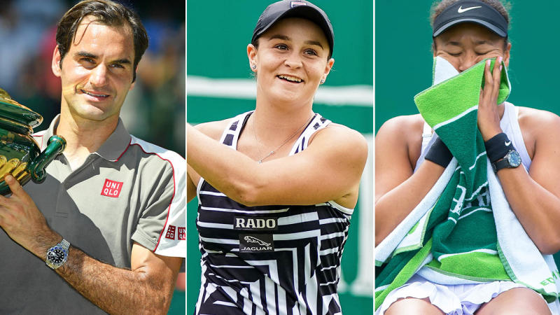 Roger Federer, Ash Barty and Naomi Osaka. Image: Getty