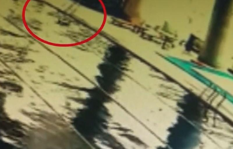 A pensioner, pictured on security footage, drowned in a China gym swimming pool. Source: Australscope