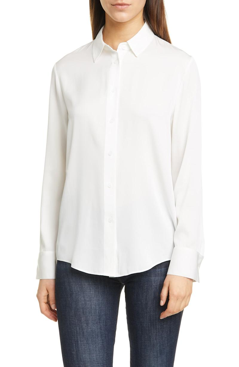 Nordstrom SIgnature Long Sleeve Stretch Silk Button-Up Shirt. Image via Nordstrom.