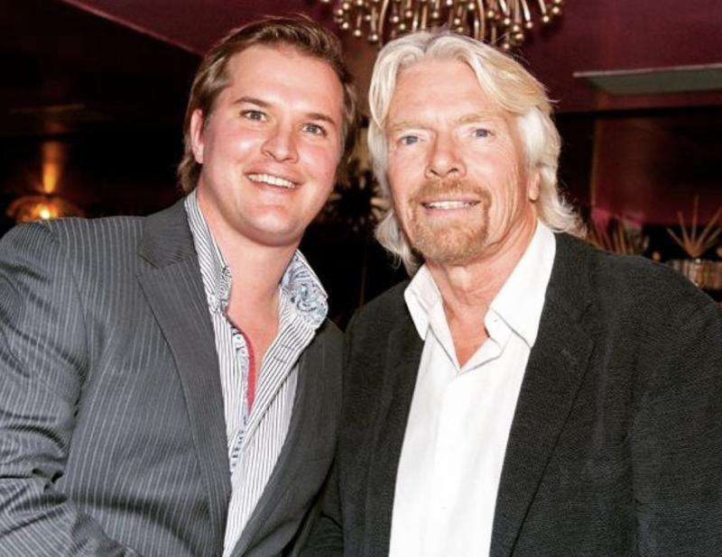 "Mr Pfahl meeting his ""business hero"" Richard Branson. Source: Instagram"